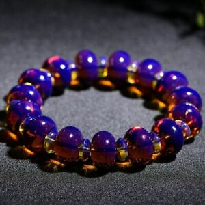 13mm Natural Blue Amber Mexico Woman Men Beads Bracelet Certificate AAAA