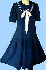 VINTAGE Laura Ashley 1920s Gatsby Flapper Stile Marinaio Blu ESTATE ABITO GIORNO, 14