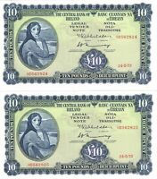 IRELAND EIRE Lady Lavery 2 consecutive UNC 10 Pounds /Punt (1973) P-66c Banknote