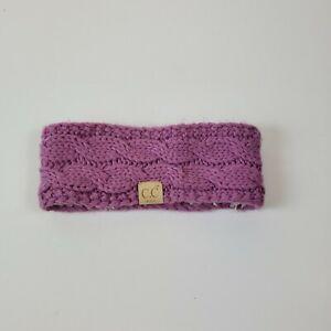 CC Kids Headband Head wrap Cable Knit Fuzzy Sherpa Lined Ear Warmer Purple