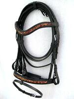 """NEW""Dressage leather bridle MAROON/GOLD Cryastal comfort poll noseband black"