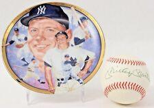 Mickey Mantle Signed Autograph Baseball w Commemorative Plate NY Yankees HOF