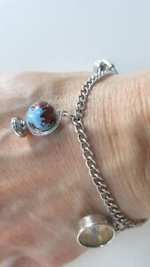 """GLASS EARTH GLOBE STERLING SILVER CHARM COMPASS SMOKING PIPE CHARM BRACELET 7"""""""