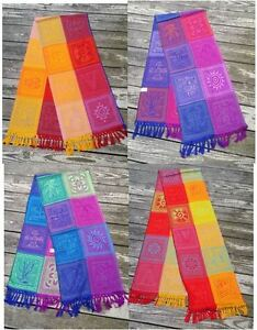"""Mexican Maya Mayan Design Table Runner 78"""" Lightweight Colorful"""