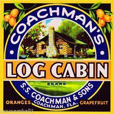 Coachman FLorida Log Cabin Orange Citrus Fruit Crate Label Art Print