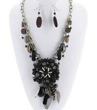 MULTI BLACK WOOD LUCITE AND GLASS BEAD BIG CHARM PENDANT NECKLACE EARRING