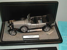 1925 ROLLS-ROYCE SIVER GHOST TOURER GREY FRANKLIN MINT 1:24 DIECAST WITH DISPLAY