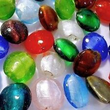 50 Pieces Silver Foil Lampwork Glass Beads - K3940 / 20mm Flat Round Mixed