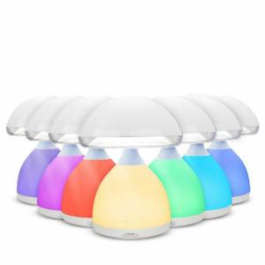 LUMINO LAMPADA FUNGO LED 7 COLORI RGB CROMOTERAPIA TAVOLO COMODINO SENZA FILI