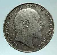 1902 UK - GREAT BRITAIN King EDWARD VII Genuine Silver 1/2 Crown Coin i75931