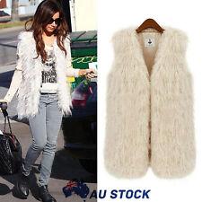 Womens Winter Warm Faux Fur Shaggy Sleeveless Vest Coat Jacket Outwear Waistcoat