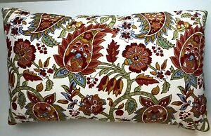 Pottery Barn Indoor/Outdoor Lumbar Pillow Block Print Paisley Red Orange 16x24