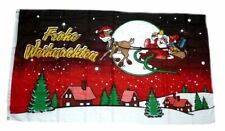 Flagge / Fahne Frohe Weihnachten Schlitten rot Hissflagge 90 x 150 cm