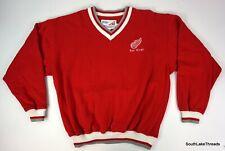 Vintage Adult Detroit Red Wings Pro Celebrity V Neck Sweatshirt Sz Large Rare