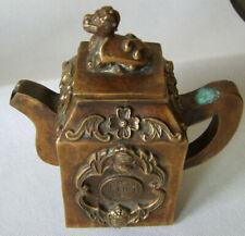 Kanne,Tee/Tempelöl(?),Bronze Antik, sign.Asien,China (?),Deckel Tempelhund Knauf