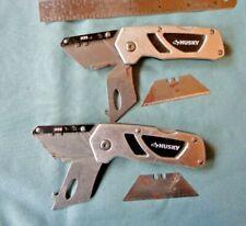 2 HUSKY SILVER/BLACK METAL HANDLE FOLDING UTILITY KNIFE KNIVES GOOD PREOWNED