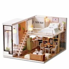 DIY Dollhouse Wooden Miniature Furniture Kit LED Light X-mas Gift Waiting Time