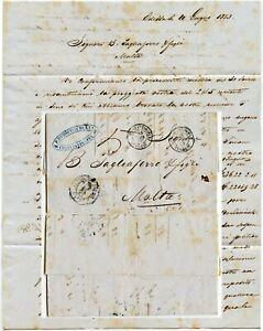 RUSSIA to MALTA 1853 LETTER via TURKEY RODOCANACHI + CO OVAL ODESSA UKRAINE