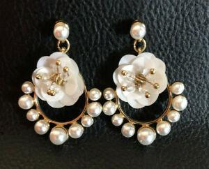 """Flower Earrings Gold Plated Faux Pearl Chandelier 1.5"""" Long #1163"""