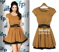 womens skater party cocktail dress mustard brown size 12 new