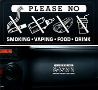 3 x Warning Sticker Sign No Smoking Vaping Food Drink Eating Car Vehicle Taxi +
