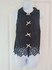Womens Topshop Top size 8 black sleeveless  bows collar cotton & silk vgc