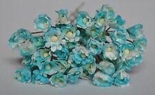 Mulberry Paper Gypsophila Bead center White Light Blue tiny card making craft