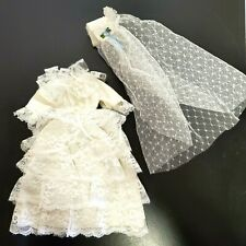 CUSTOM handcrafted Barbie-size beaded white wedding gown VEIL LACE RUFFLED RETRO