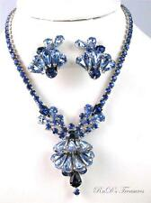 Vintage HIGH END Sapphire & Baby Blue Rhinestone Necklace & Clip Earrings SET