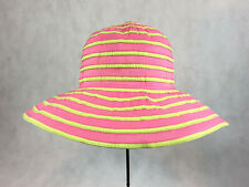 Old Country Road Womens Girls Pink Lime Green Beach Hat Sun UPF 50+ NWT One Size