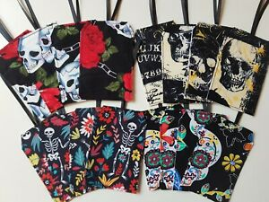 Set of 4 Fabric Gift Tags SKULLS Christmas Halloween Present Labels Gothic Skull