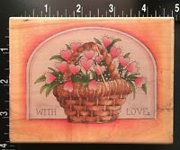 HEARTS BASKET VALENTINES WITH LOVE SCRIPT Stamps Happen Wood Rubber Stamp