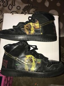 RARE IRON MAIDEN NIKE SHOES  Size 10 PREVIOUSLY USED HEAVY METAL
