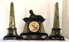 Amazing 19th Century Egyptian Revival Marble Clock with Obelisks