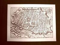 Antica veduta della città di Ferrara Incisione del 1616 Ristampa