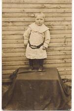 Toddler Boy Wearing BOY SCOUT Sash/Belt Around Waist 1910s Real Photo Postcard