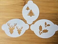Face painting stencil Christmas reindeer holly & xmas tree Myler 3.5x 2.3 inc
