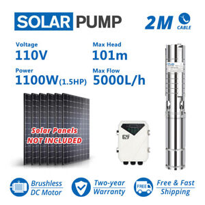 """4"""" DC Deep Well Submersible Solar Water Pump Stainless Steel Impeller 110V 1.5HP"""