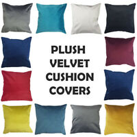 SUPER SOFT PLUSH VELVET CUSHION COVER WITH CONCEALED INVISIBLE ZIP VARIOUS SIZE