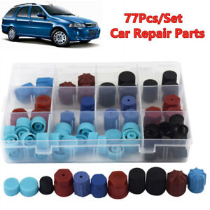 77Pcs/Set Car A/C R134A R12 High Low Side Valve Core/Service Port Dust Cap H2P5