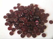 250 X 9MM RUBY RED ROUND RESIN BUTTONS ~ 4 HOLE ~ SEWING CRAFTS SCRAPBOOKING