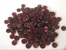 250 x 9 mm Rouge Rubis Rond en Résine Boutons ~ 4 Trous ~ à coudre Artisanat Scrapbooking