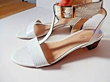 MINELLI Real Patent Cuir Blanc Femme Sandales Taille UK 6 EU 39 NEUF