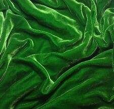"Silk VELVET Fabric KELLY GREEN 9""x22"" remnant"