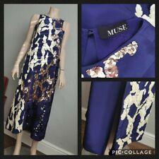 MUSE 100% Silk Sequin Applique Midi Dress Wedding Party VGC UK L 14-16