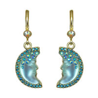 Kirks Folly Moon Shadow Goddess Leverback Earrings (Goldtone/Teal)
