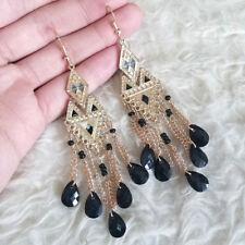 Vintage Womens Bohemian Hippy Black Beads Dangle Drop Gold-Tone Hook Earrings