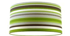 70cm Large Oversize Handmade Lampshade Green Silver Brown Cream Stripe Wallpaper