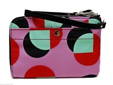 Fossil Key Per Zip Wristlet Clutch Handbag Fuchsia Pink & Multicolor Print New!