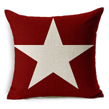 "18""x45cm Wine Red Star Vintage Pattern HomeDecor Linen Cushion cover Pillowcase"